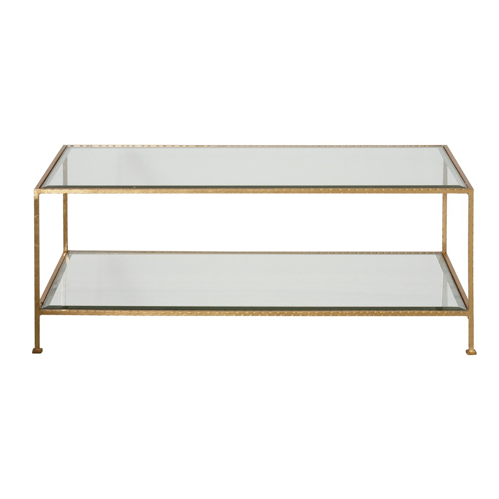 Gold Leaf Rectangular Coffee Table W Beveled Glass | Worlds Away