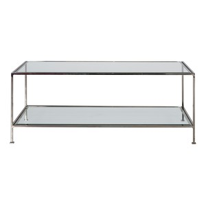 Sleek Rectangular Table Nickel and Beveled Glass