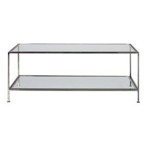 Sleek Rectangular Table Nickel and Beveled Glass | Worlds Away
