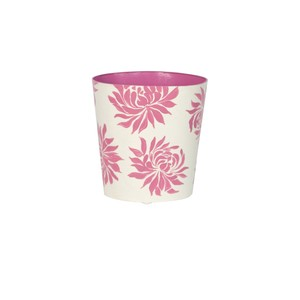 Oval Wastebasket Cream with Hot Pink Dahlia   Worlds Away