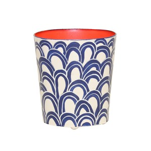 Navy and Orange Wastebasket | Worlds Away