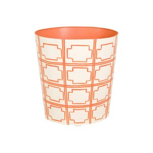 Orange and Cream Wastebasket