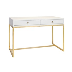 White Lacquer Two Drawer Desk with Gold Leaf Base | Worlds Away
