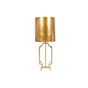 Gold Leaf Iron Lamp Base with Gold Leaf Drum Shade