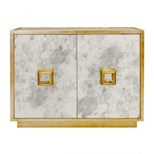 Antique Mirror 2 Drawer Chest in Gold Leaf | Worlds Away