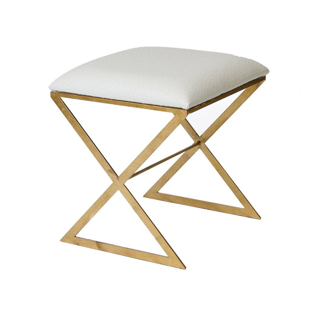 X Side Stool White Faux Ostrich Top | Worlds Away