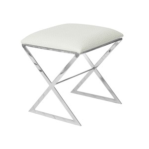 X Side Stool Nickel with White Ostrick Top