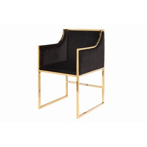 Chair in Black Velet with Brass Base | Worlds Away