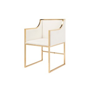 Chair in White Linen with Brass Base
