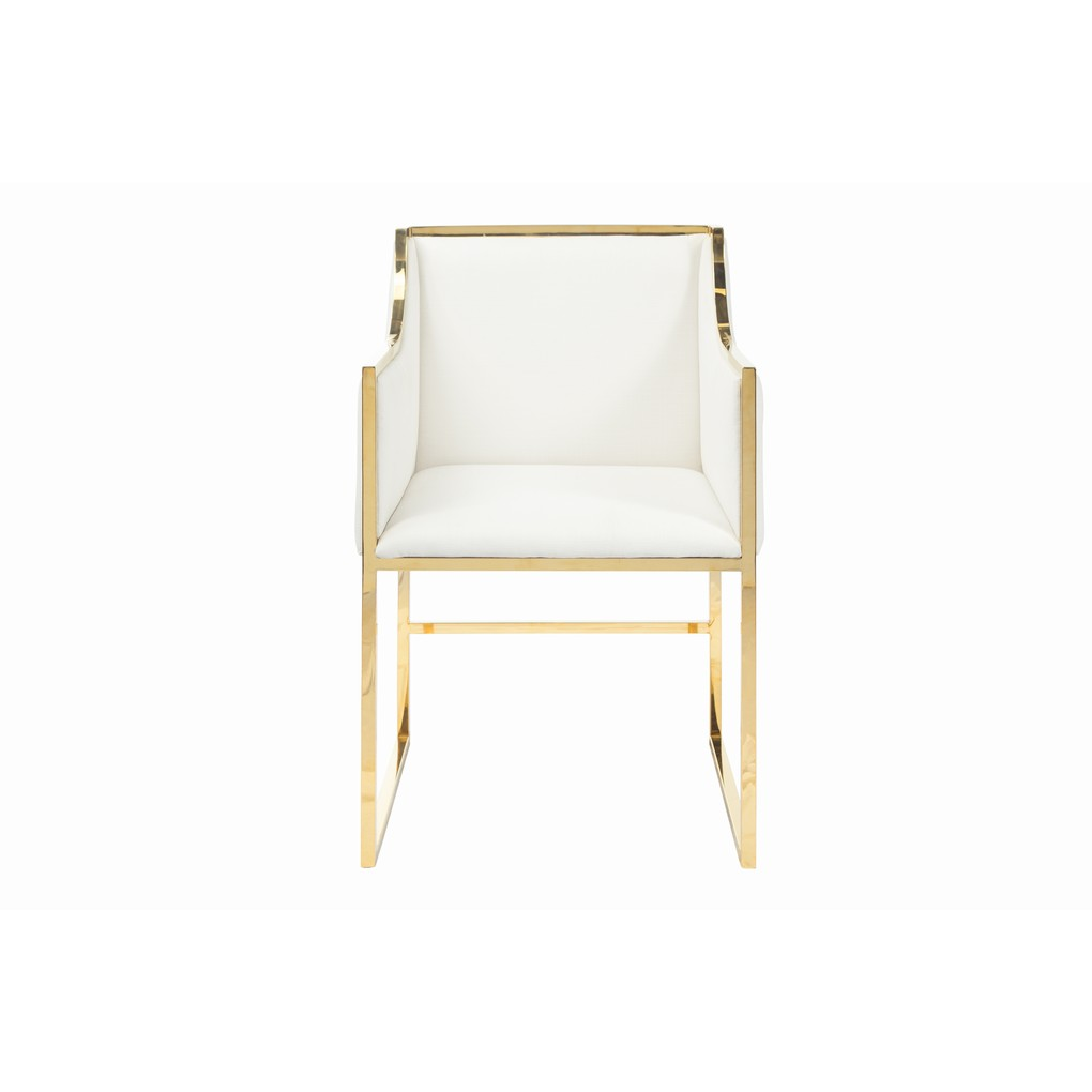 Chair in White Linen with Brass Base | Worlds Away