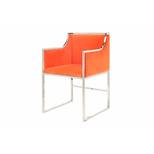 Chair in Orange Velvet with Nickel Base