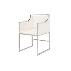 White Linen Chair with Nickel Base