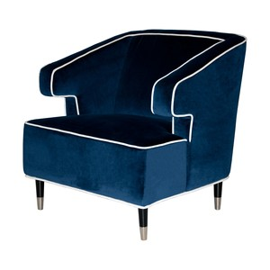 Navy Velvet Chair with White Piping