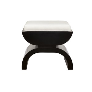 Black Lacquer Base with White Linen Seat | Worlds Away