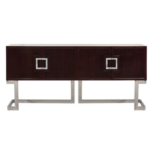 Rosewood Veneer Media Console Stainless Steel Base | Worlds Away