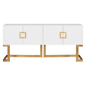 White Lacquer Media Console with Gold Leaf | Worlds Away