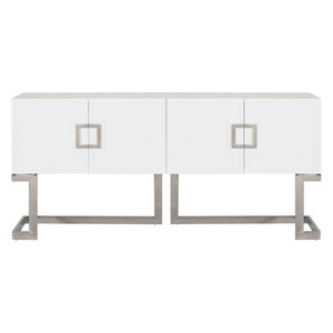 White Lacquer Media Console with Stainless Steel | Worlds Away