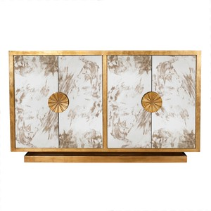 Gold Leaf Antique Mirror Console
