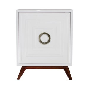 White Lacquer Nightstand with Nickel Hardware