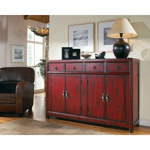 "58"" Red Asian Cabinet 