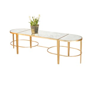 3 Piece Coffee Table Gold Leaf | Worlds Away