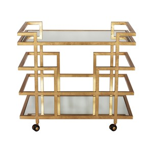 Gold Leaf Bar Cart with Mirror Top   Worlds Away