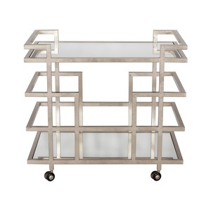 Silver Leaf Bar Cart with Mirror Top