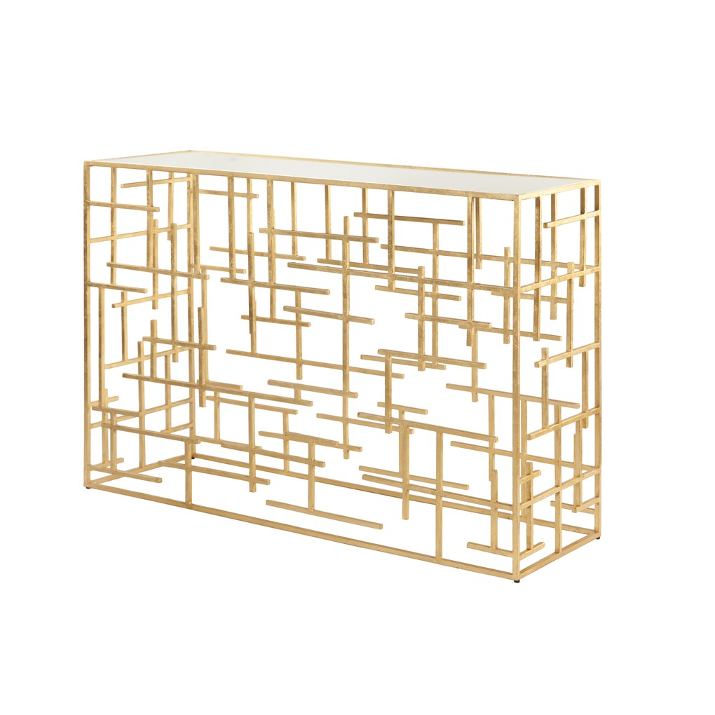 Gold Leaf Abstract Console with Mirror Top   Worlds Away