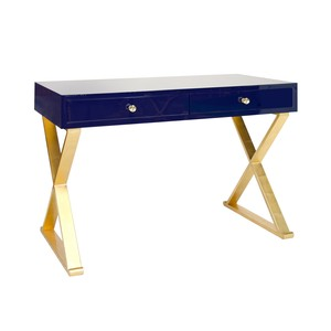 Navy Lacquer with Gold Leafed X Legs