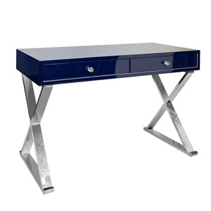 Navy Lacquer Desk with Stainless Steel X Legs