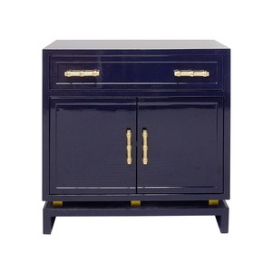 Navy Lacquer 1 Drawer & 2 Doors Nightstand | Worlds Away