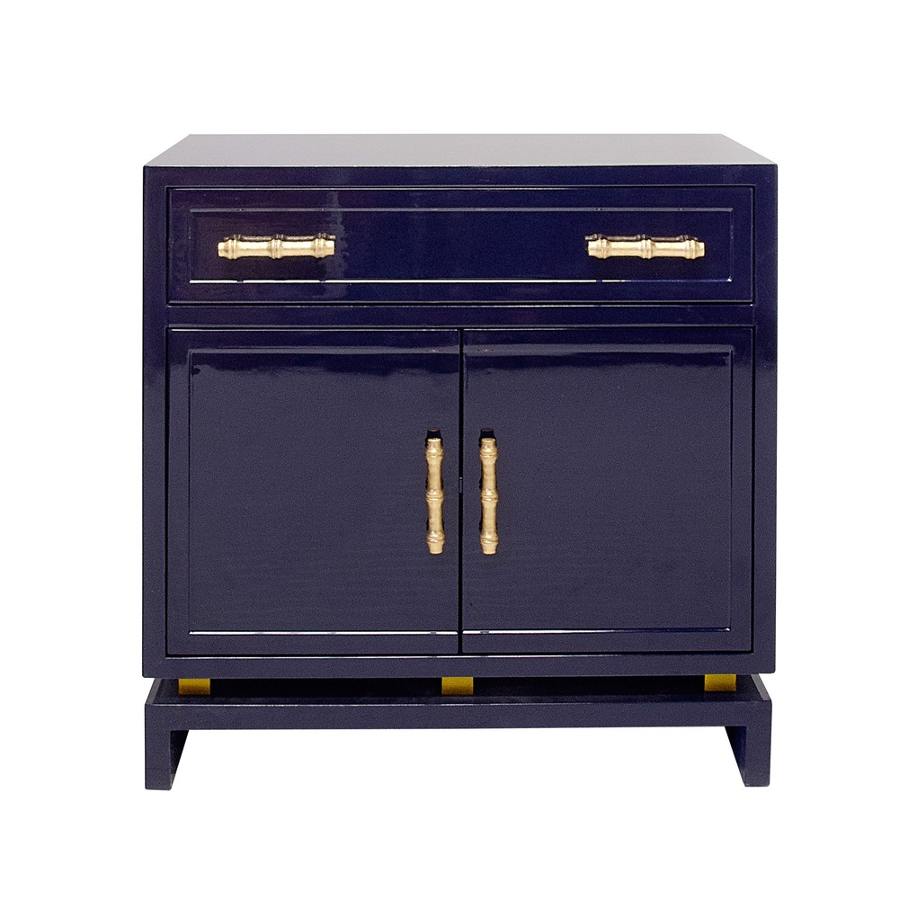 Navy Lacquer 1 Drawer & 2 Doors Nightstand   Worlds Away