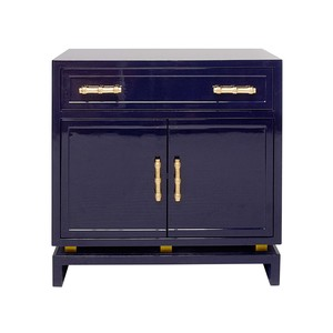 Navy Lacquer 1 Drawer & 2 Doors Nightstand