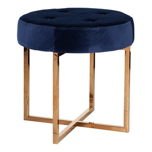 Brass Stool with Navy Velvet Top