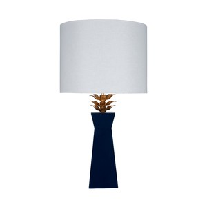 Navy Lacquer Lamp Gold Leaf Leaves Linen Shade