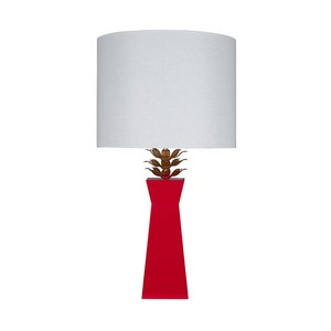 Red Lacquer Lamp Gold Leaf Leaves Linen Shade | Worlds Away