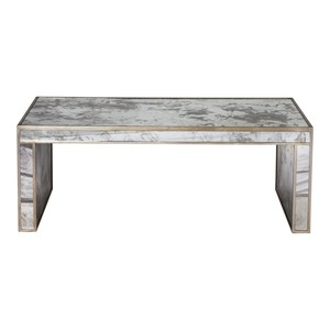 Silver Leaf Wooden Coffee Table Antique Mirror | Worlds Away