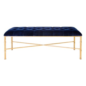 Gold Leafed Bamboo Bench with Tufted Navy Velvet   Worlds Away