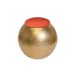 Gold Leaf Hammered Round Stool with Orange Velvet | Worlds Away