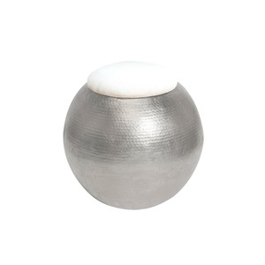 Silver Leaf Hammered Round Stool White Linen Top   Worlds Away