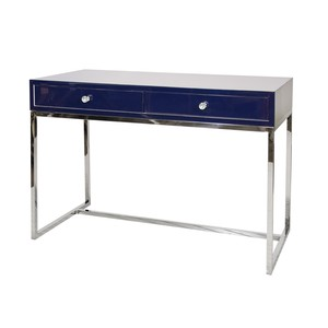 Navy Lacquer 2 Drawer Desk on Stainless Steel Base