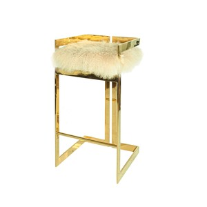 Brass Linear Barstool with Mongolian Fur Cushion   Worlds Away