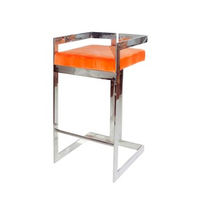 Nickel Linear Barstool with Orange Velvet Cushion