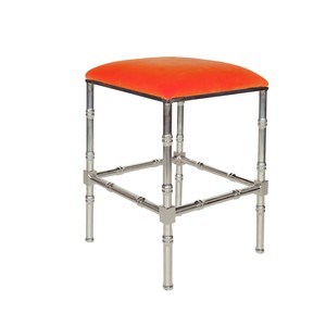 Nickel Bamboo Counter Stool Orange Velvet Cushion