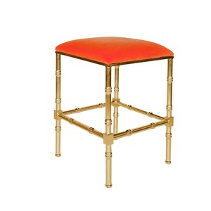 Brass Bamboo Counter Stool Orange Velvet Cushion | Worlds Away