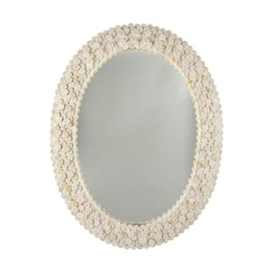 Oval Frame Mirror Layered Circular Natural Bone