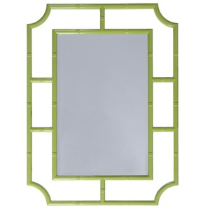 Lime Green Bamboo Detail Beveled Glass   Worlds Away