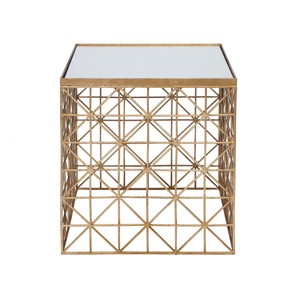 Gold Leaf Crosshatch Side Table with Mirror Top