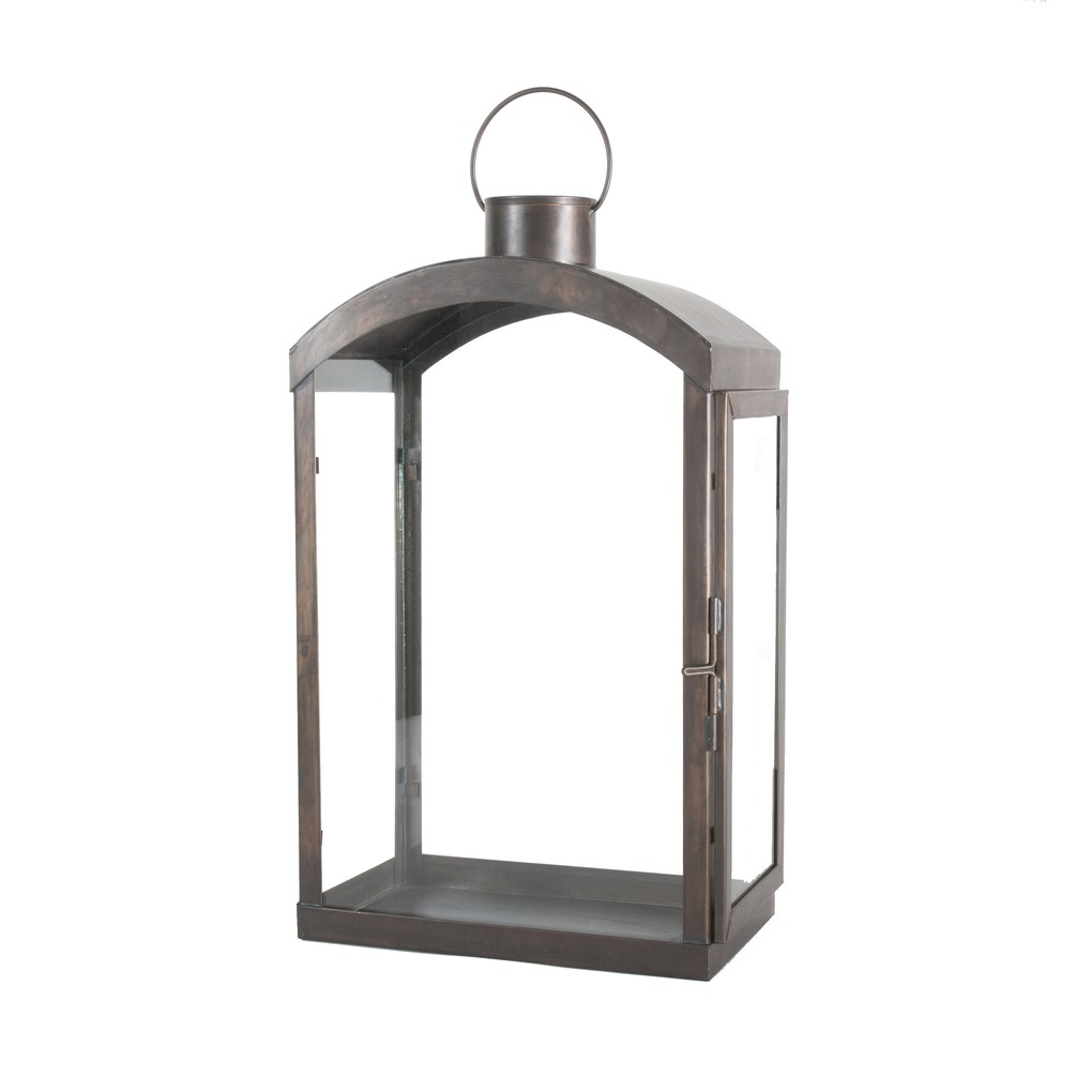Arched Top Large Tin Lantern with Clear Glass | Worlds Away