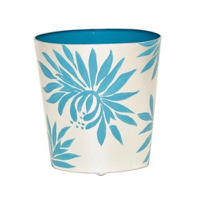 Oval Waste Basket with Cream and Blue Dahlia